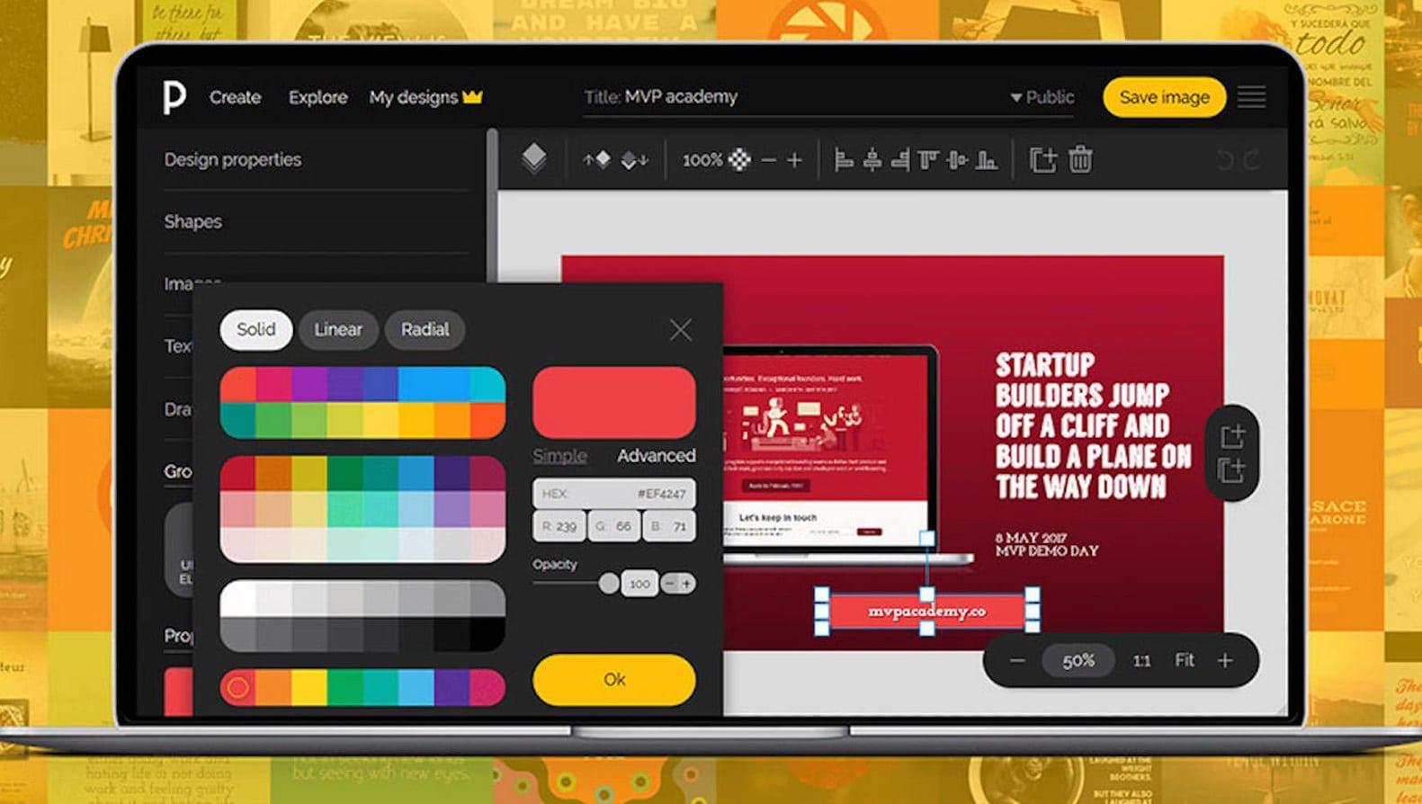 pixteller design photo editing web app