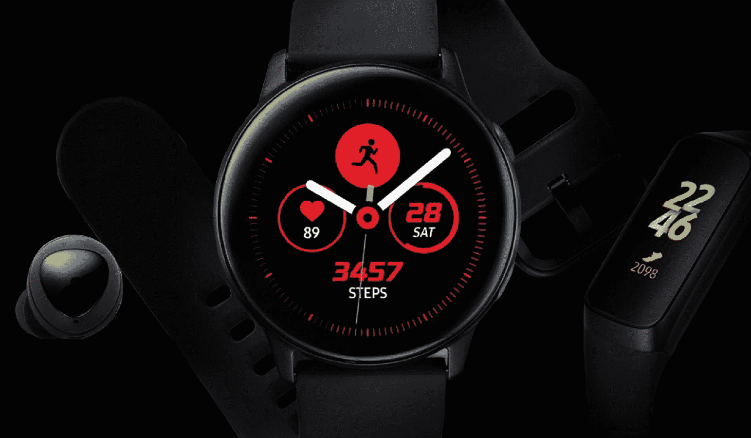 samsung wearables on a black background
