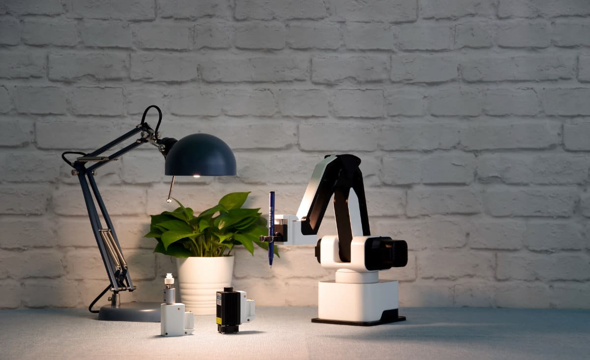 hexbot robotic arm on desktop