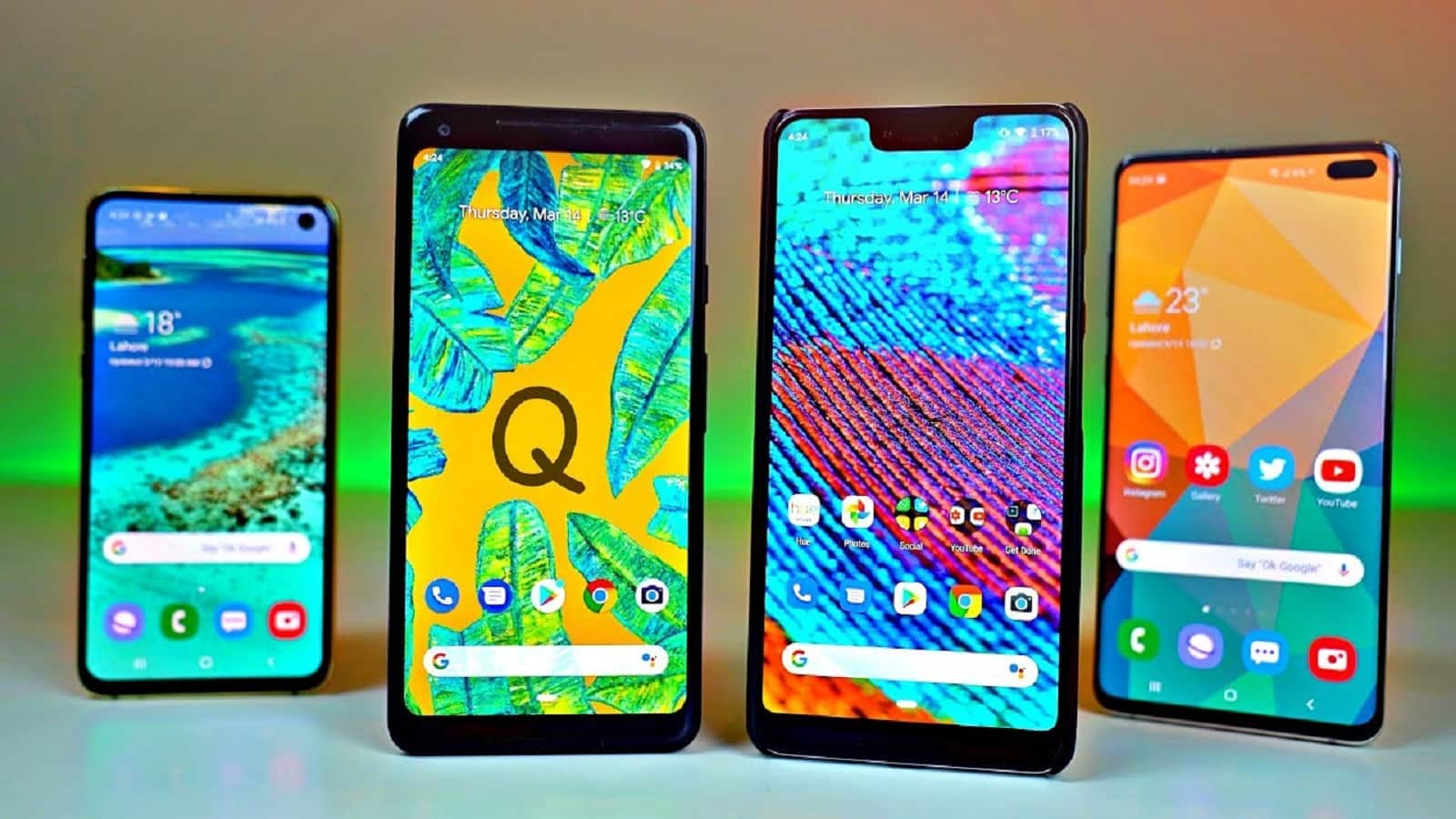 android q on various android devices