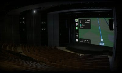 apple maps showing on screen in the Steve Jobs theater before Apple press event