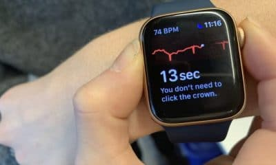 apple watch being used as an electrocardiogram