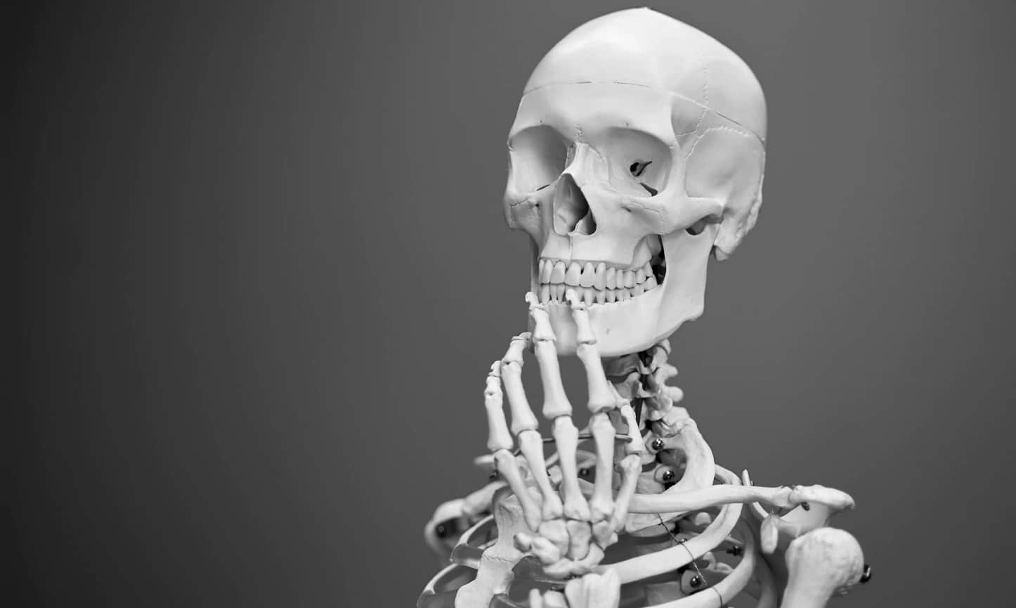 instagram bone trade with skeleton pondering both life and death