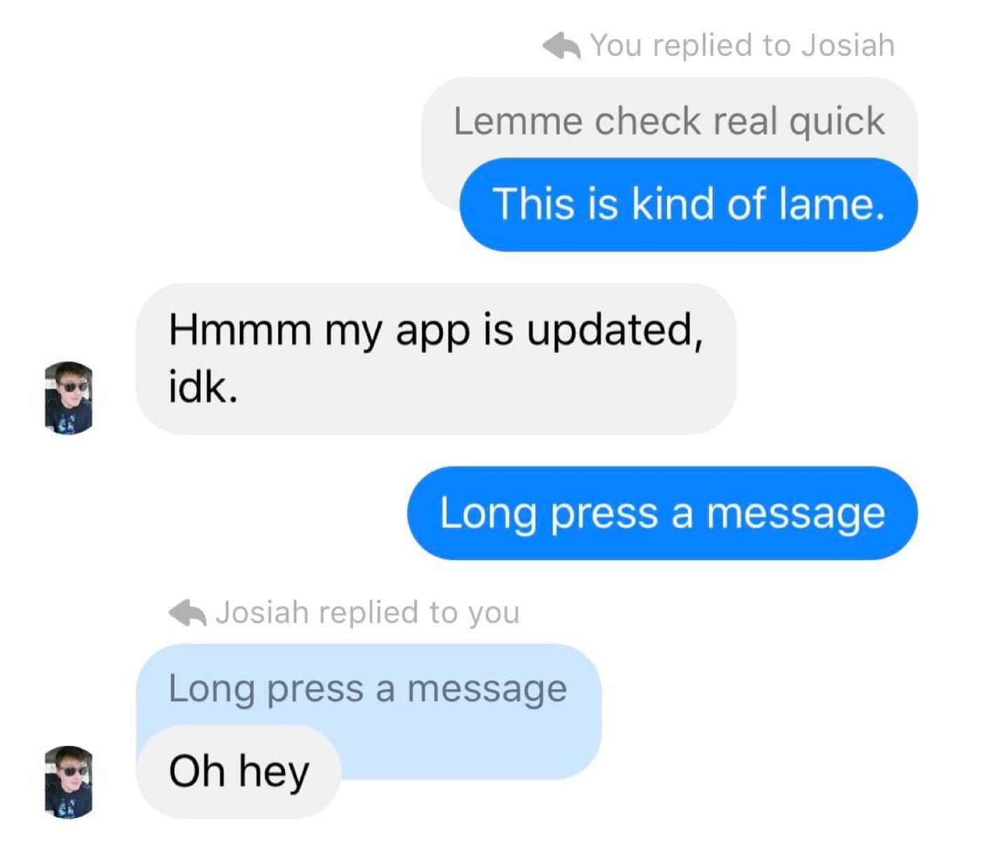 facebook messenger message thread