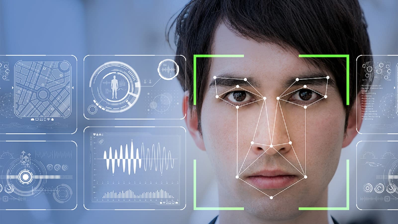 facial recognition being shown on a person with fingerprint data
