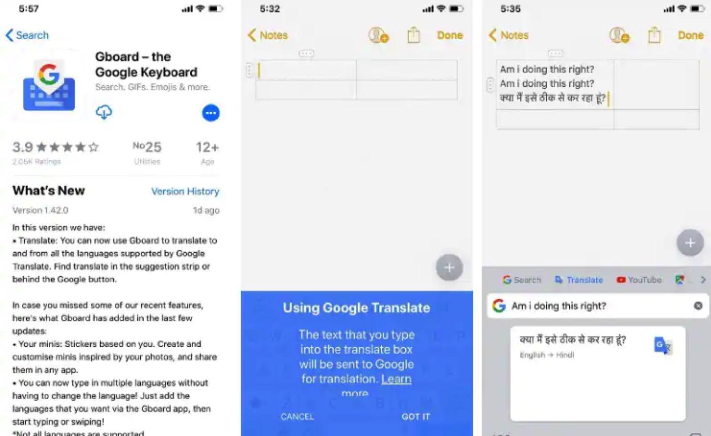 gboard ios google translate update to ios