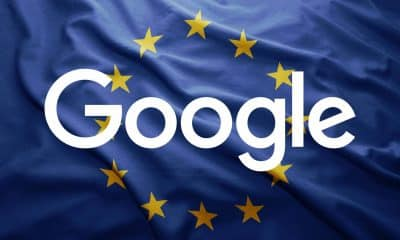 google logo over a european union flag dealing with new adsense fine
