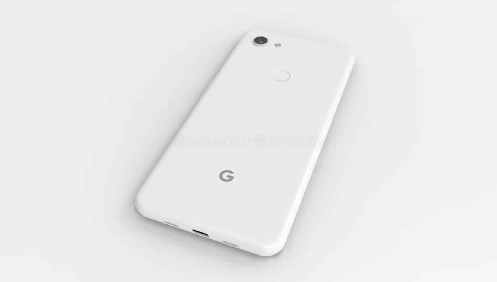 google pixel 3a mockup shown on a white table