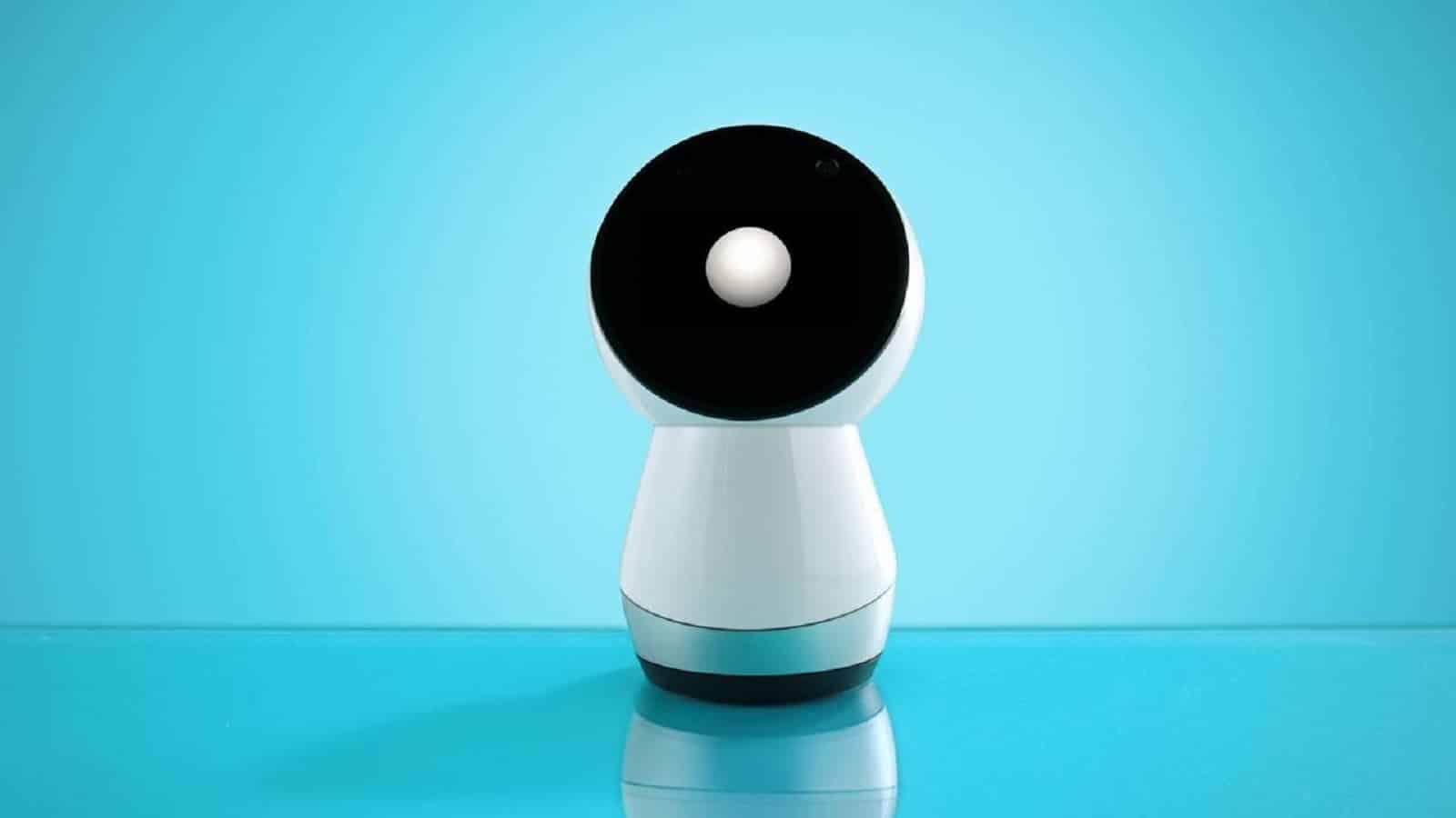 jibo robot on blue background