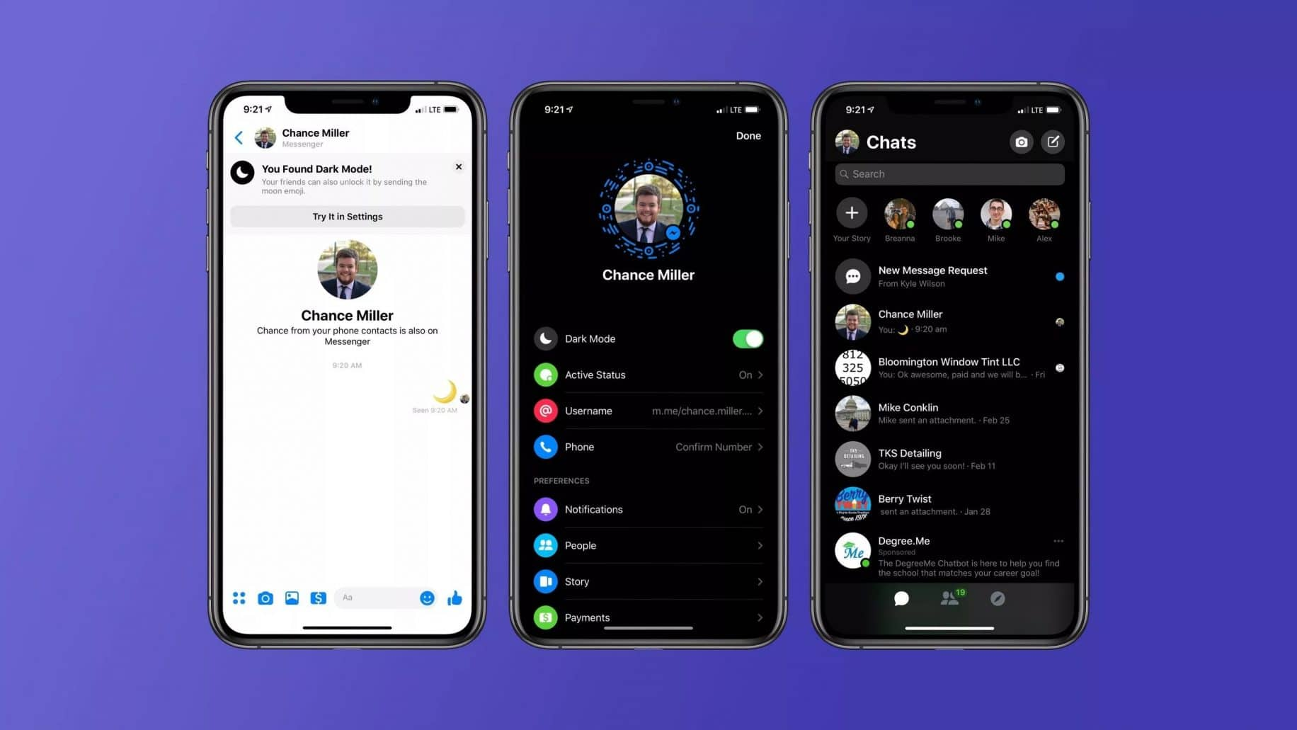 facebook messenger dark mode
