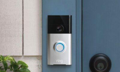 ring video doorbell on a door