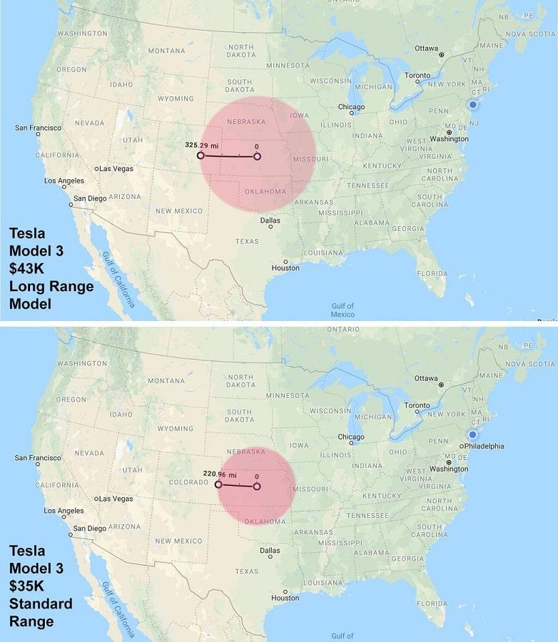 tesla ranges shown on map