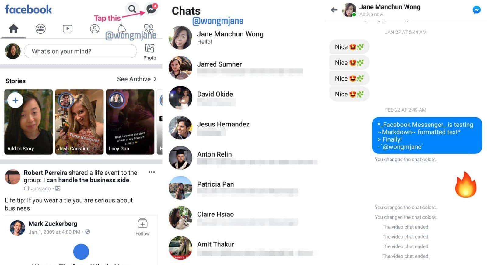 facebook messenger shown inside the main app