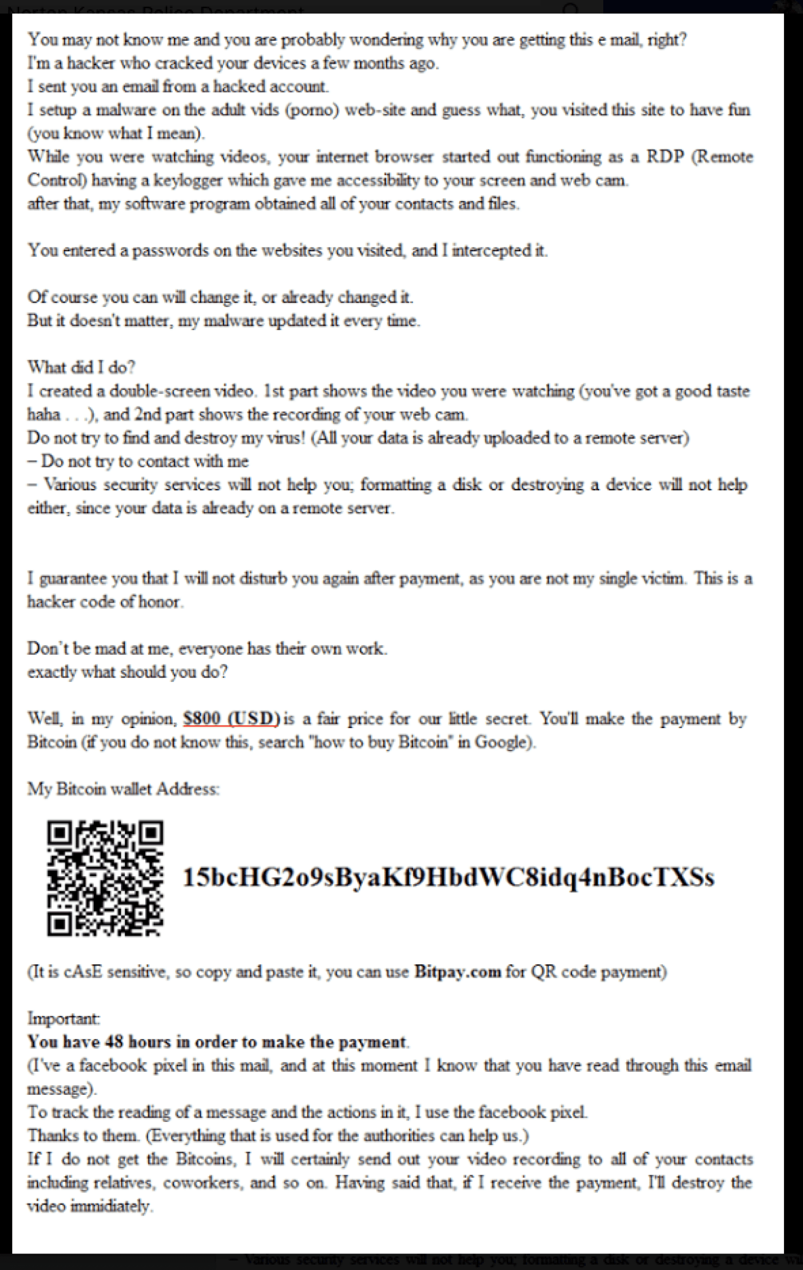 bitcoin extortion scam