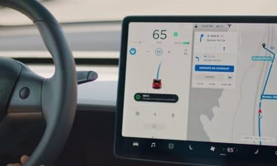 tesla vehicle showing navigate on autopilot feature on model 3