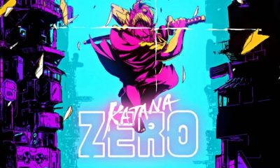 katana zero main screen in pinks and blues