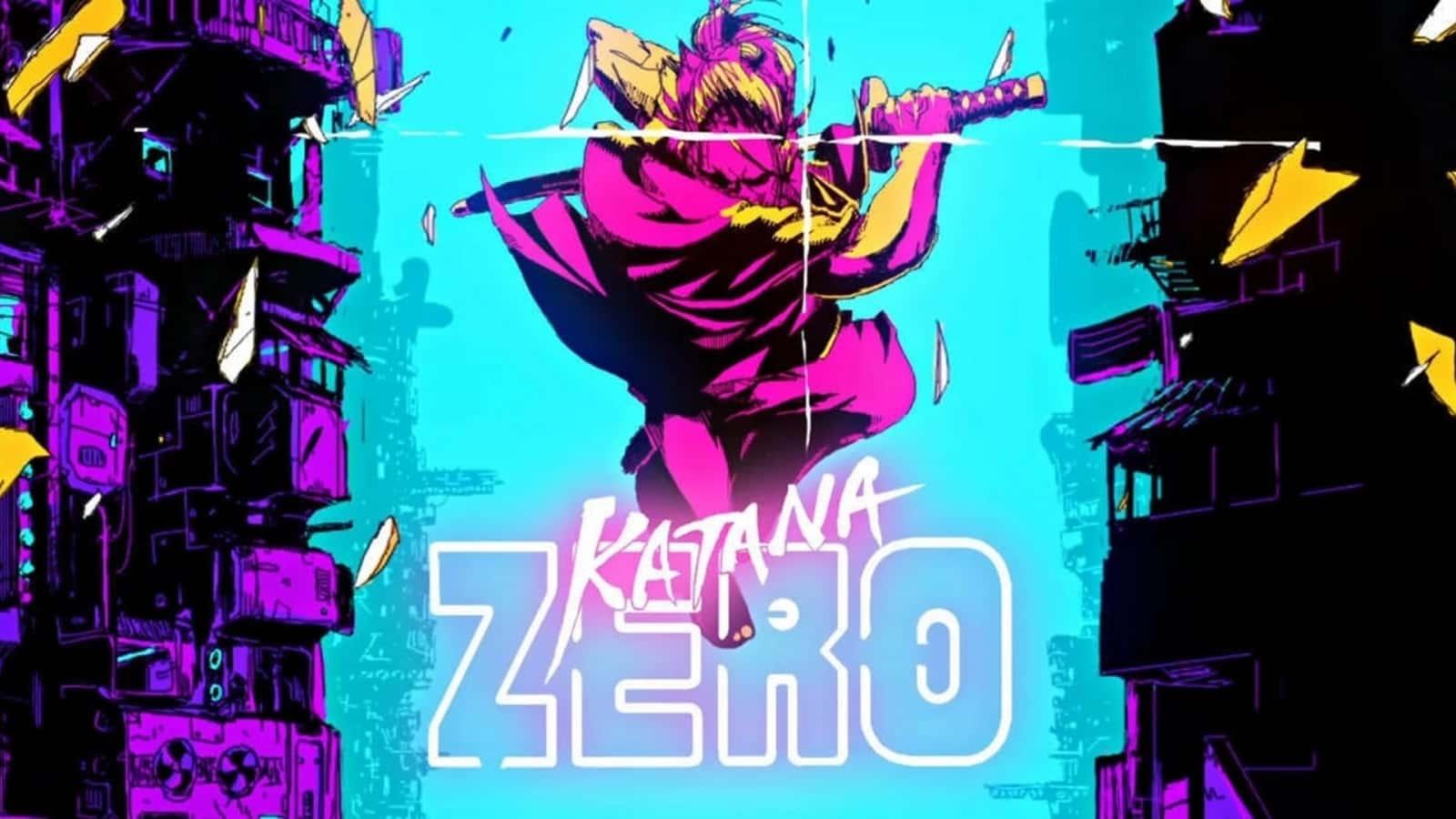 katana zero main screen in pinks and blues