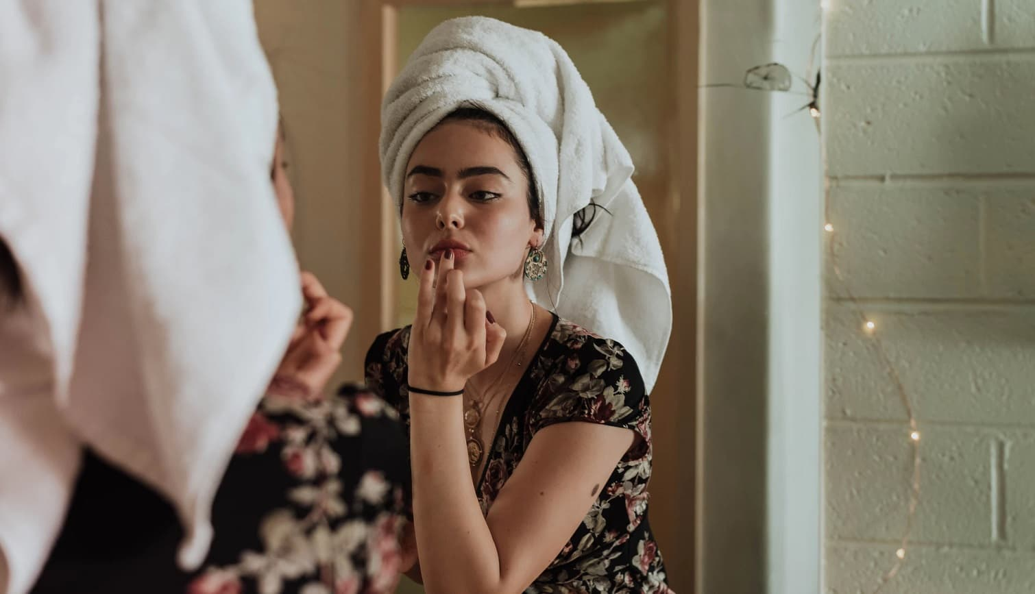 makeup in the mirror