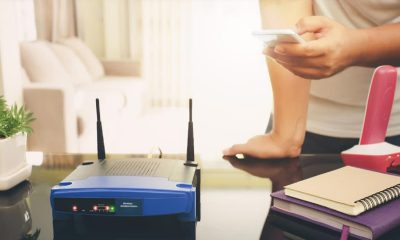 nondescript wifi router on table