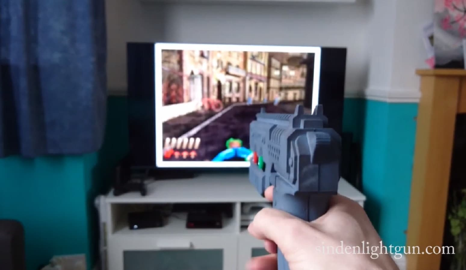 sinden lightgun for lcd screens being used