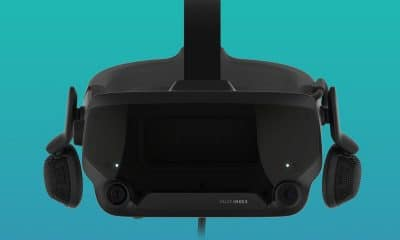 valve's index vr headset on teal background