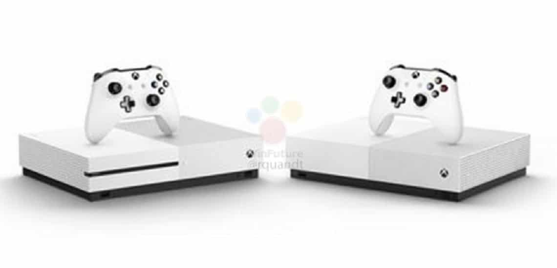 disc-less xbox one s beside xbox one x