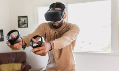 oculus quest virtual reality headset being used by a man