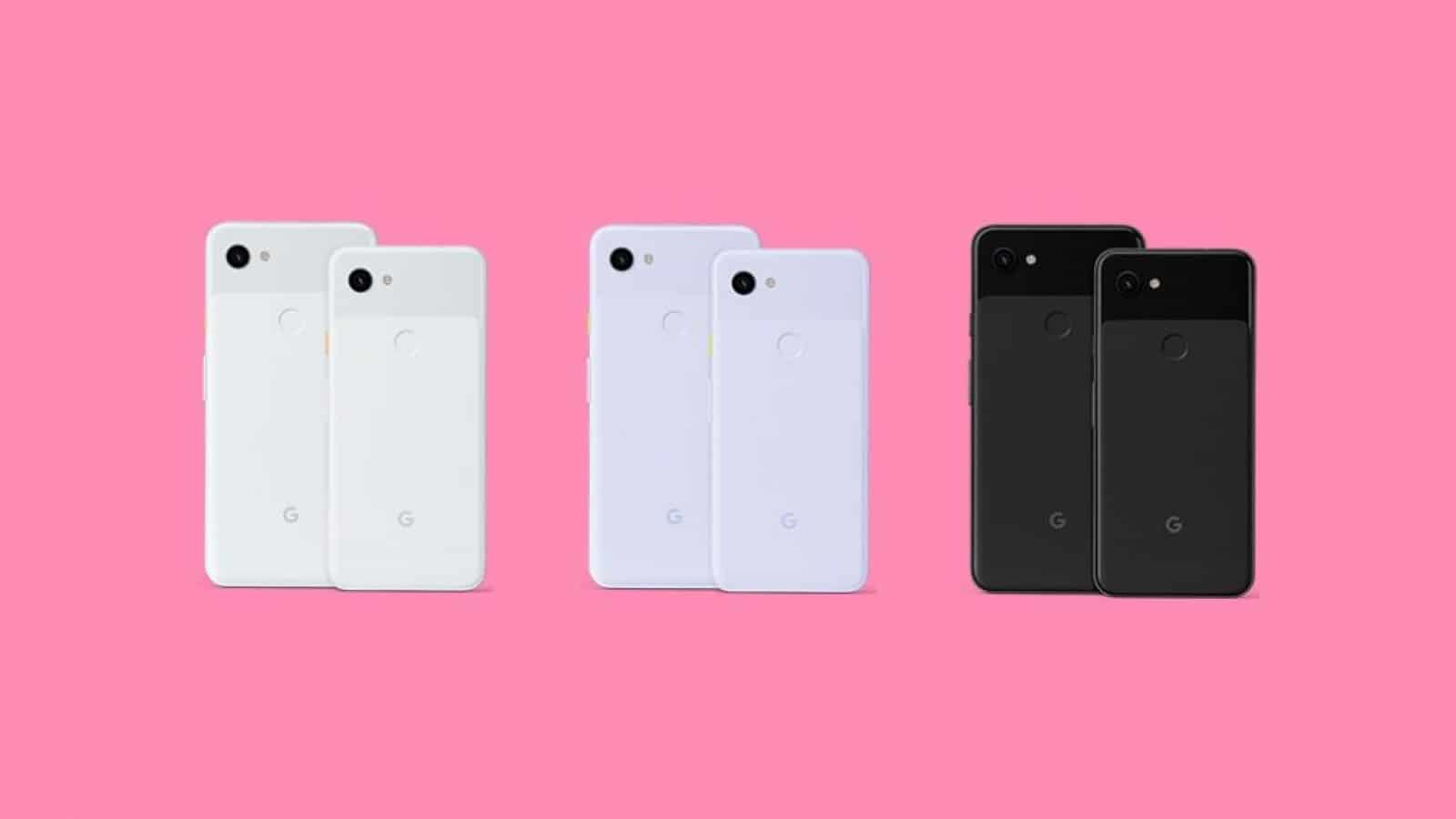all three Pixel 3a colorways, white, black and purple