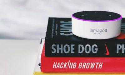 amazon echo device with alexa sitting on books