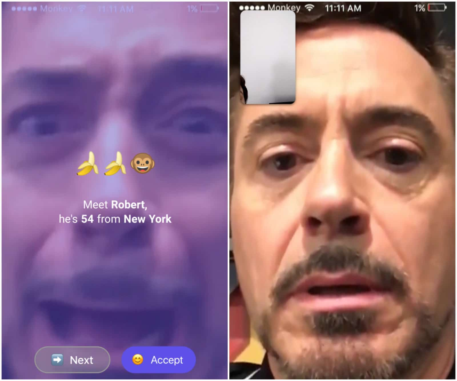 fake facetime call with robert downey jr
