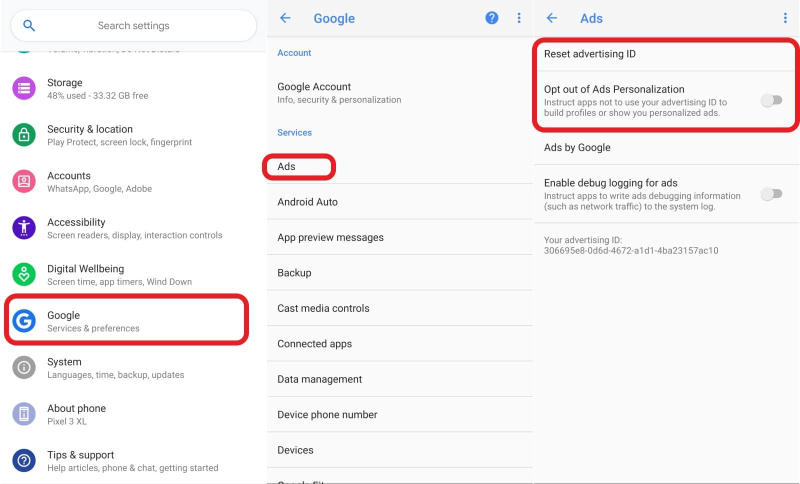 google android settings app for turning off ad personalization