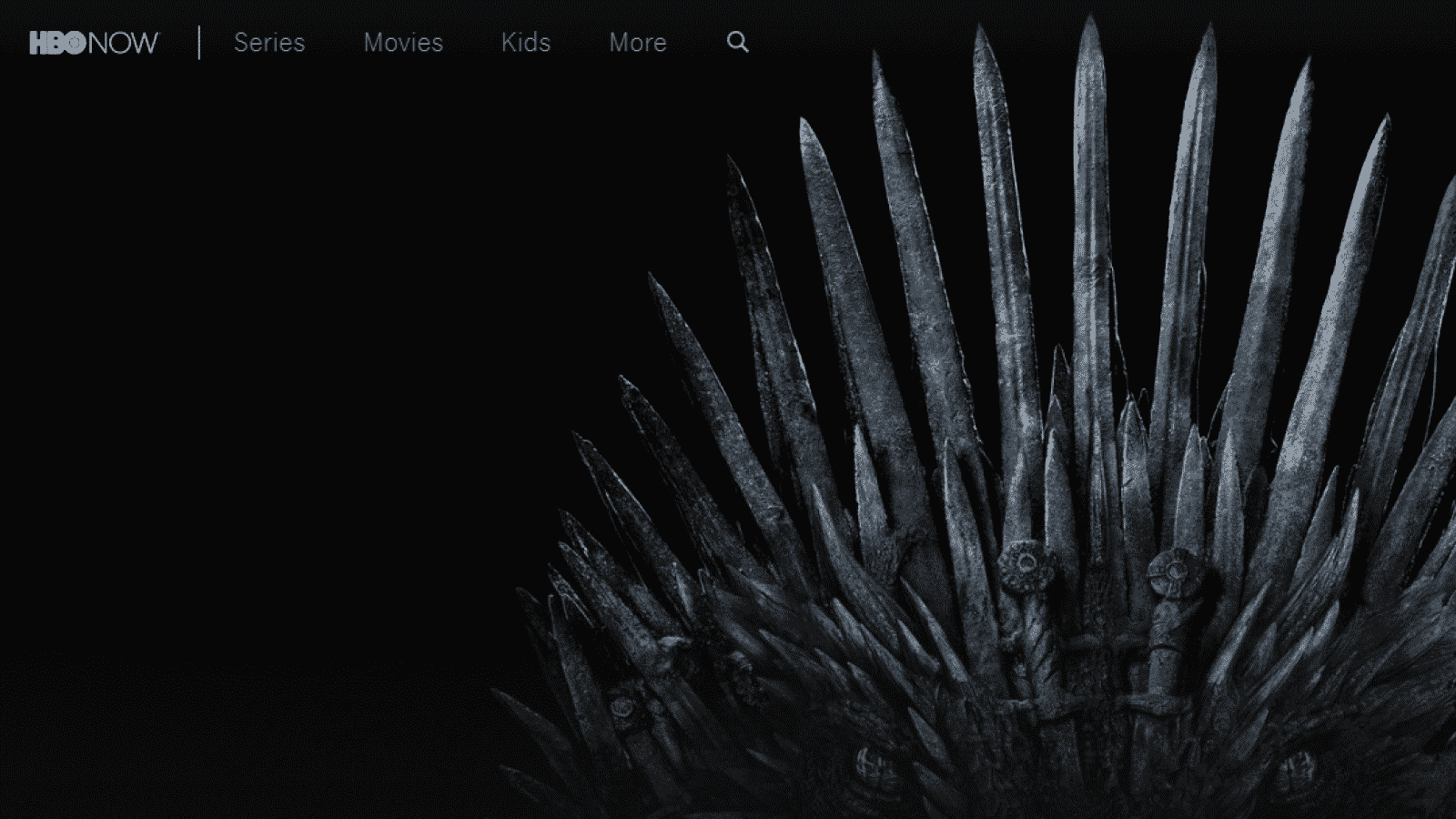 hbo now main page with game of thrones image