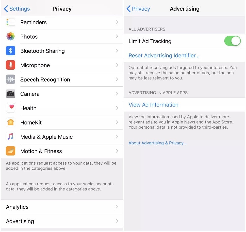 settings pages to limit ad tracking on ios