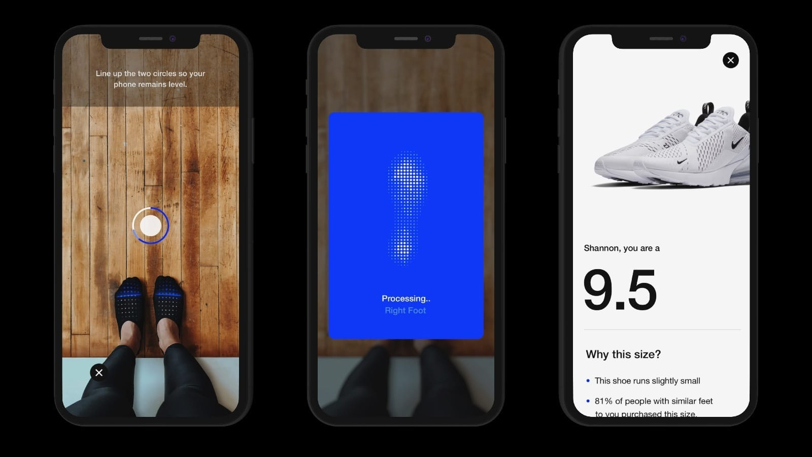 nike fit on nike app for shoe sizes