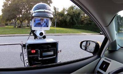 robot cop making a traffic stop