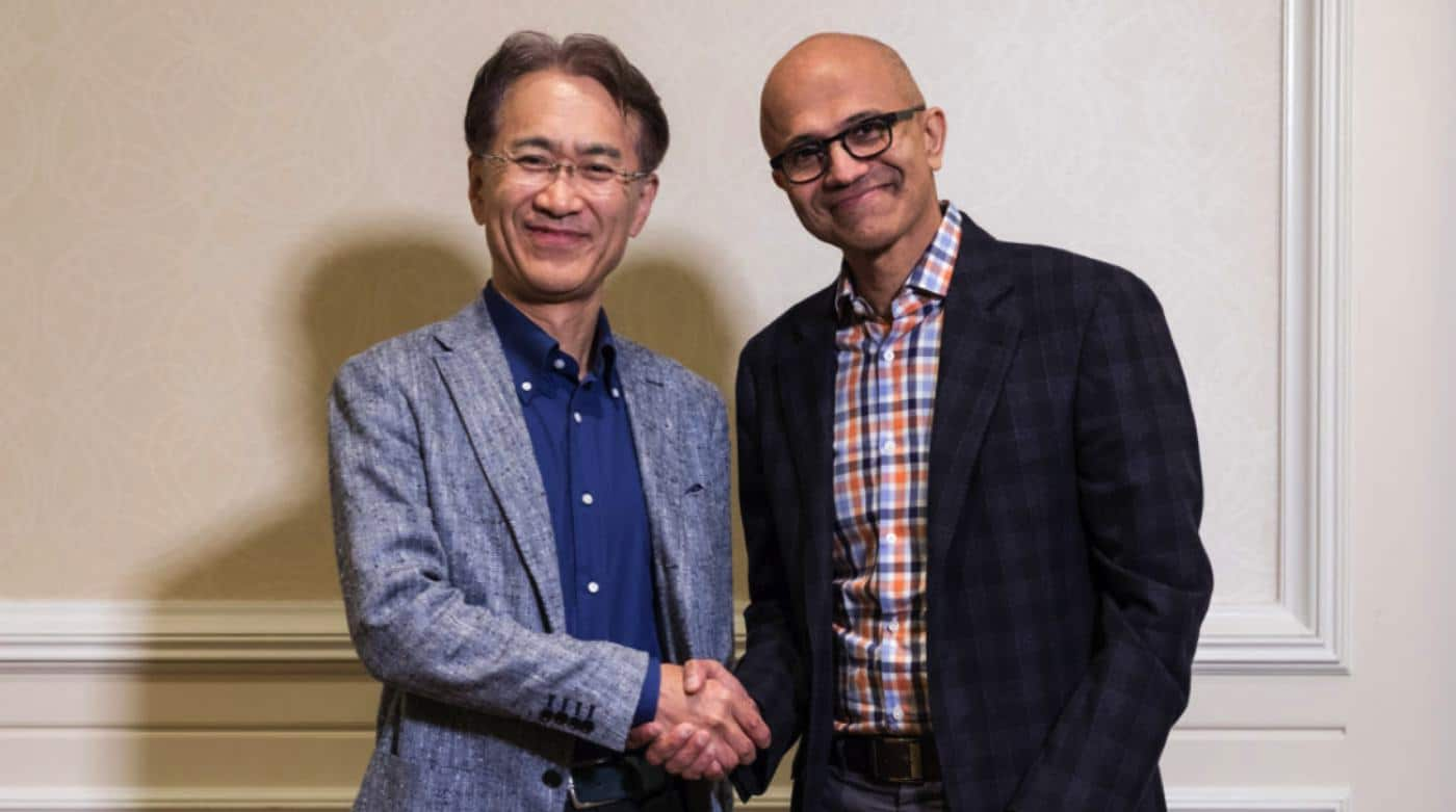 sony and microsoft shaking hands to make cloud gaming better