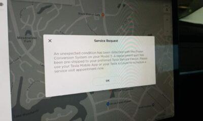 tesla service request screen in car