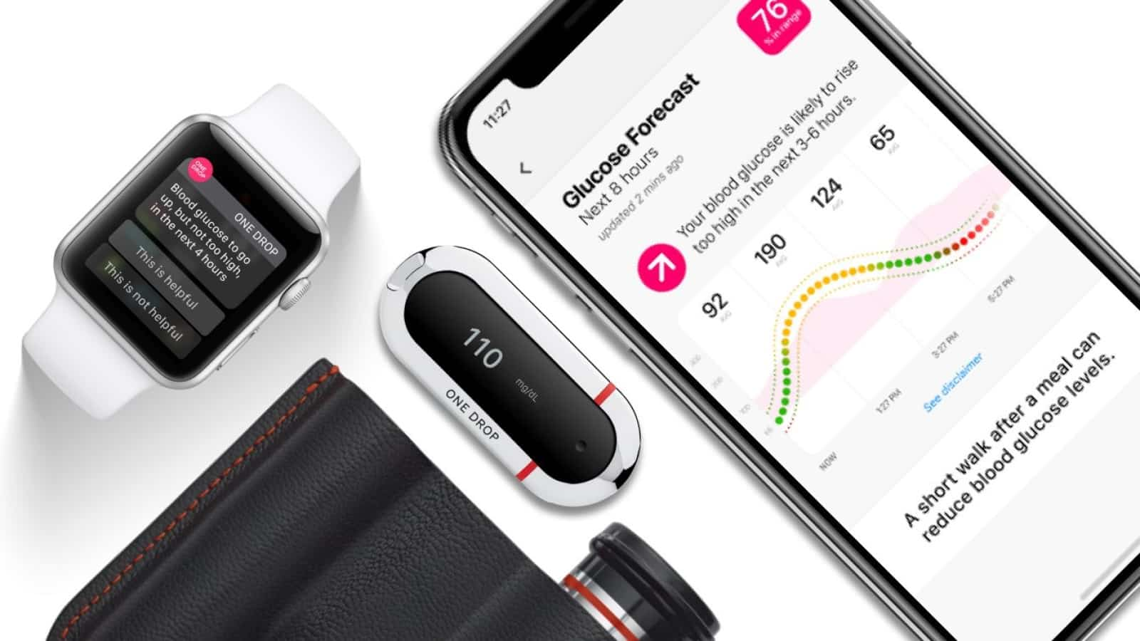 one drop glucose meter with an iphone and apple watch on white background