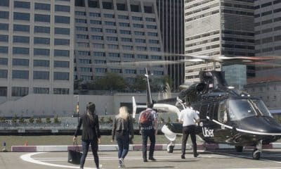 uber copter taking passengers