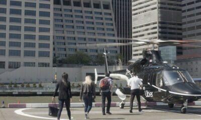 uber copter taking passengers