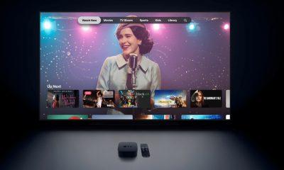 apple tv displayed on a tv