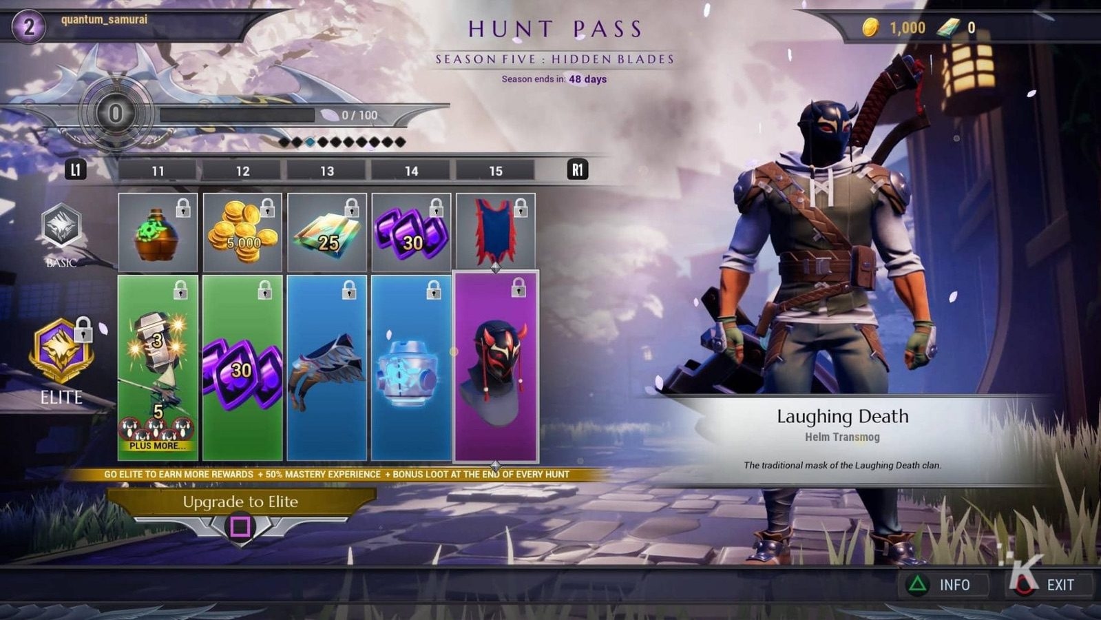 hunt pass showing different items you can earn