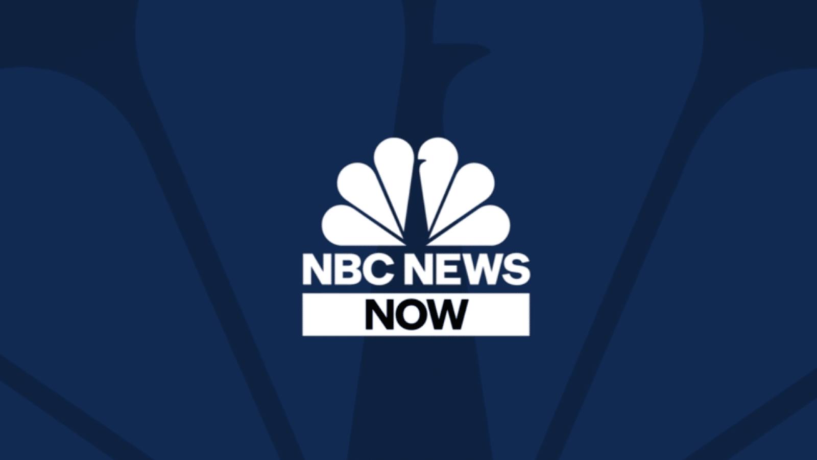 nbc news now logo on dark blue background