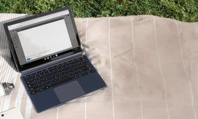 google pixel slate tablet on blanket on grassy field