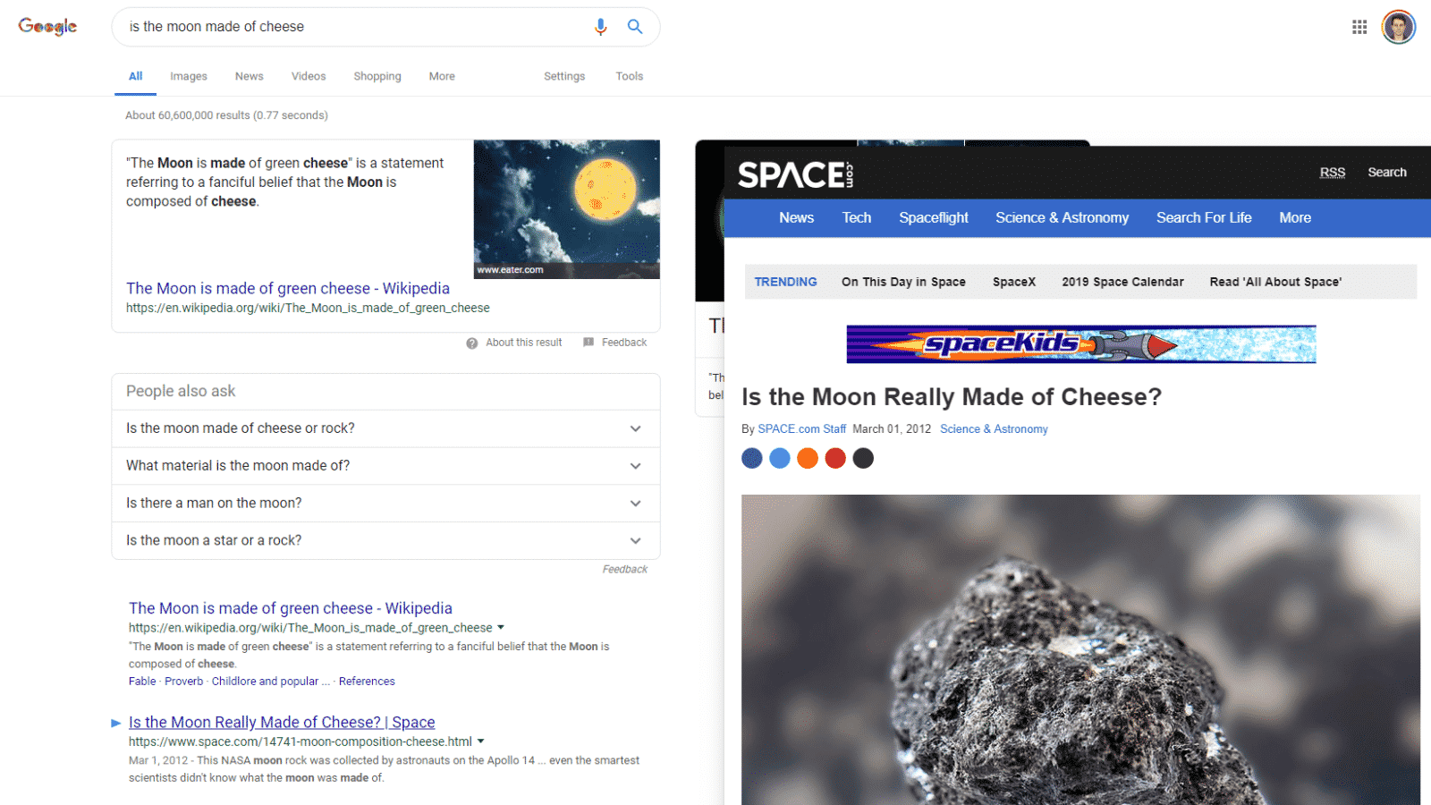 google results previewer extension in action