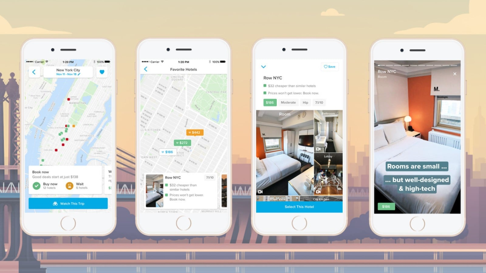 screenshots of hopper app showing hotel price predictions
