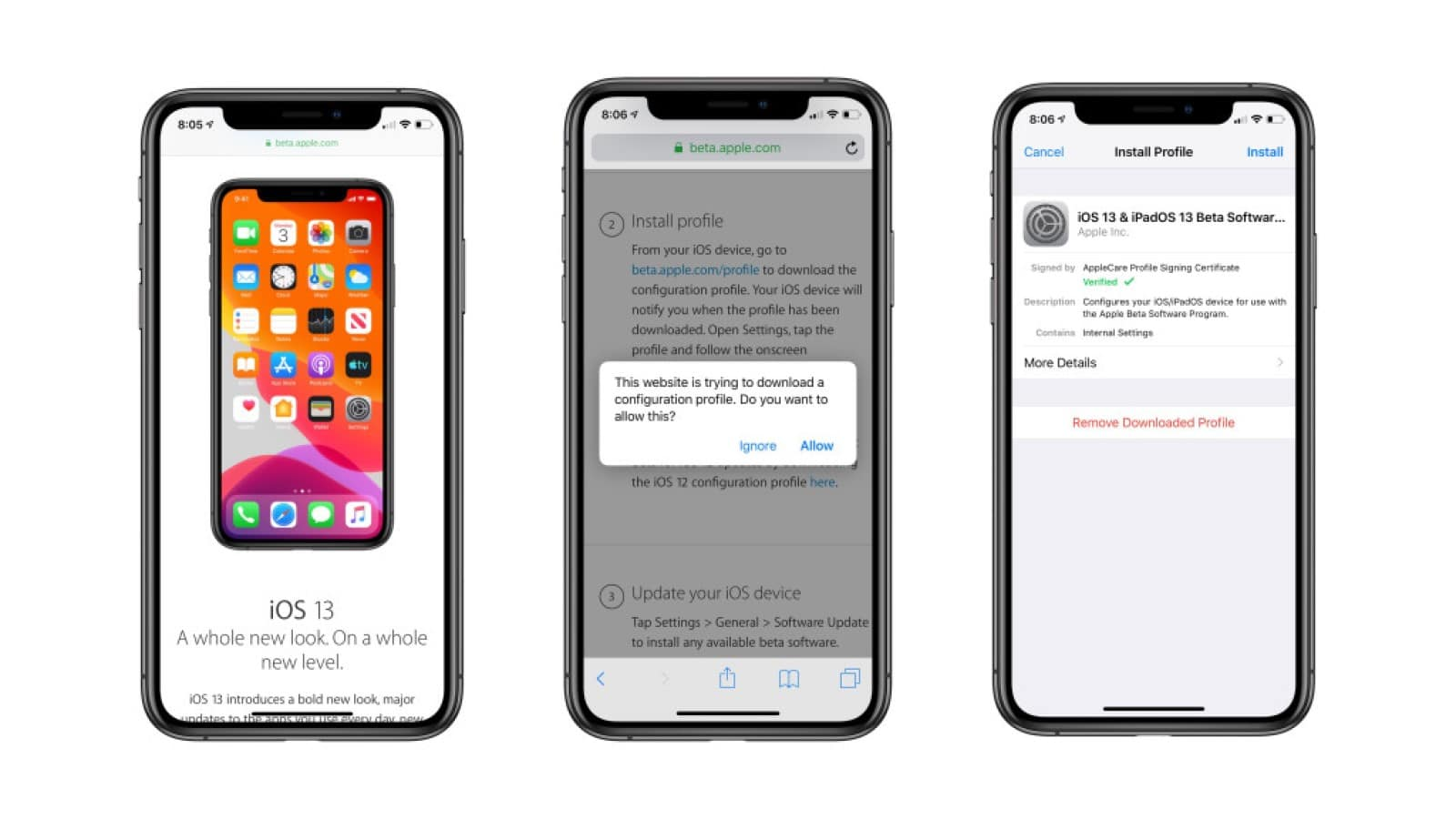 iOS 13 sign up process screenshots