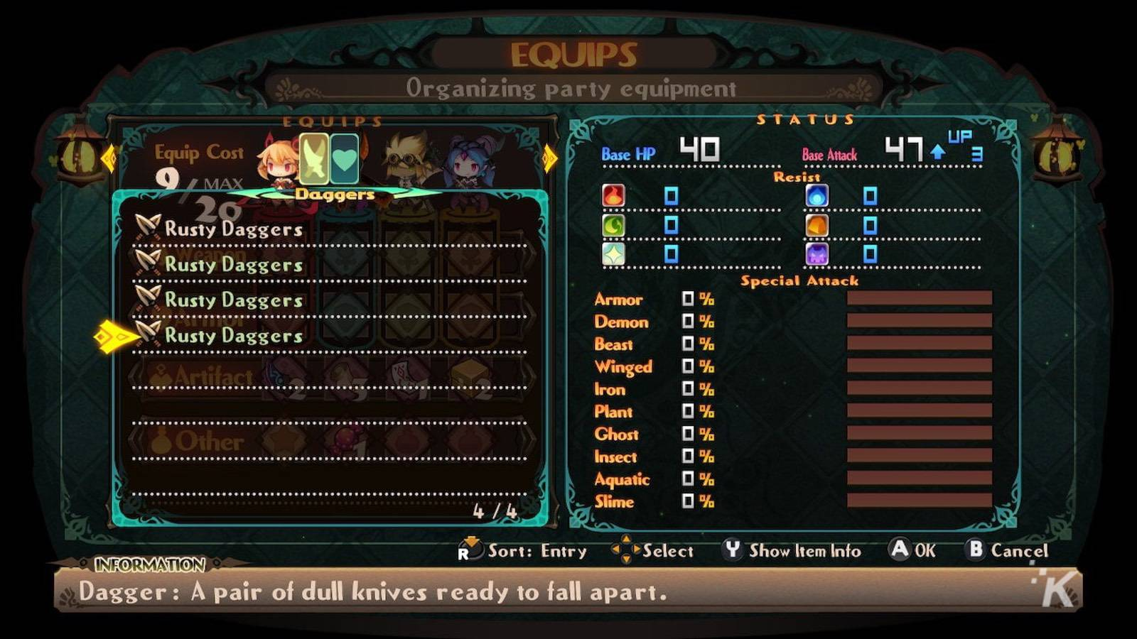 lapis x labyrinth game menu