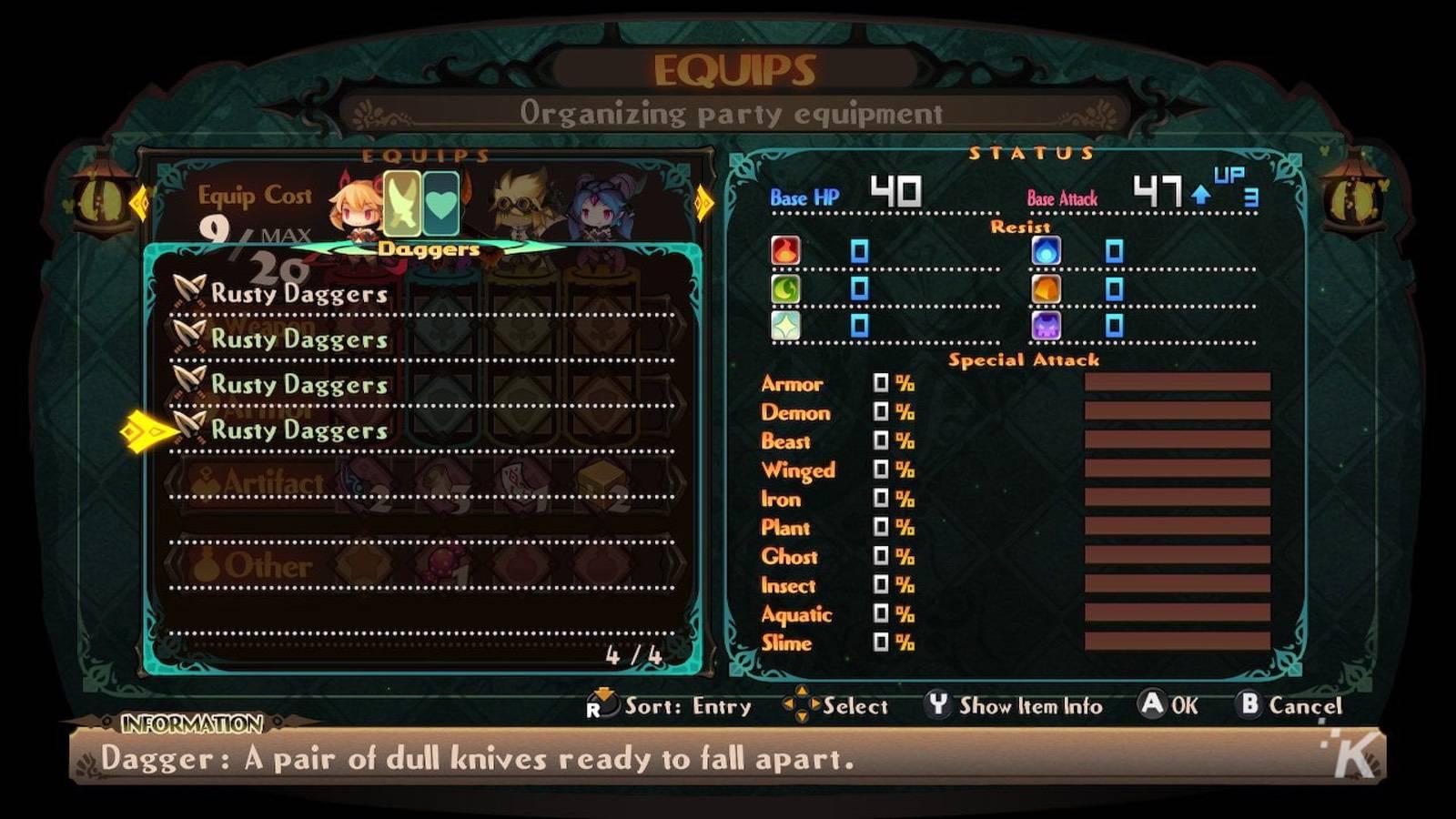 lapis x labyrinth game menu