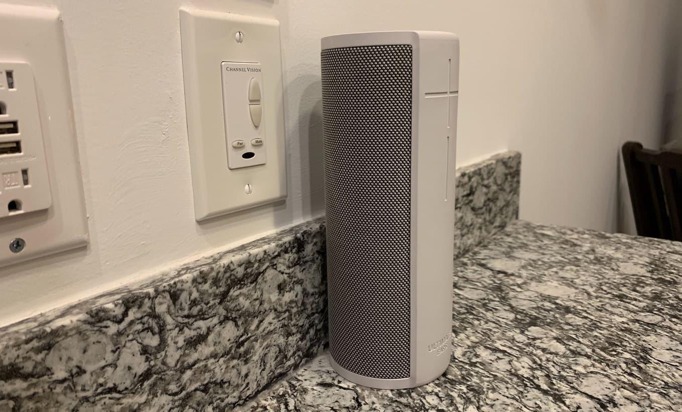 tech bluetooth speaker on counter